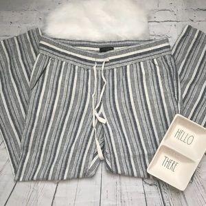 Ann Taylor Striped Drawstring Elastic Waist Pants